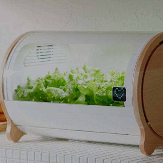 """'Foop' is a high-tech home gardening pod that lets you grow vegetables indoors, and control its ..."