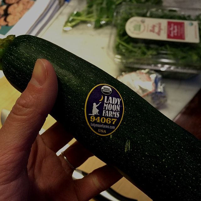 Lady Moon Farms! Making roast zucchini with basil and Pecorino cheese for dinner.