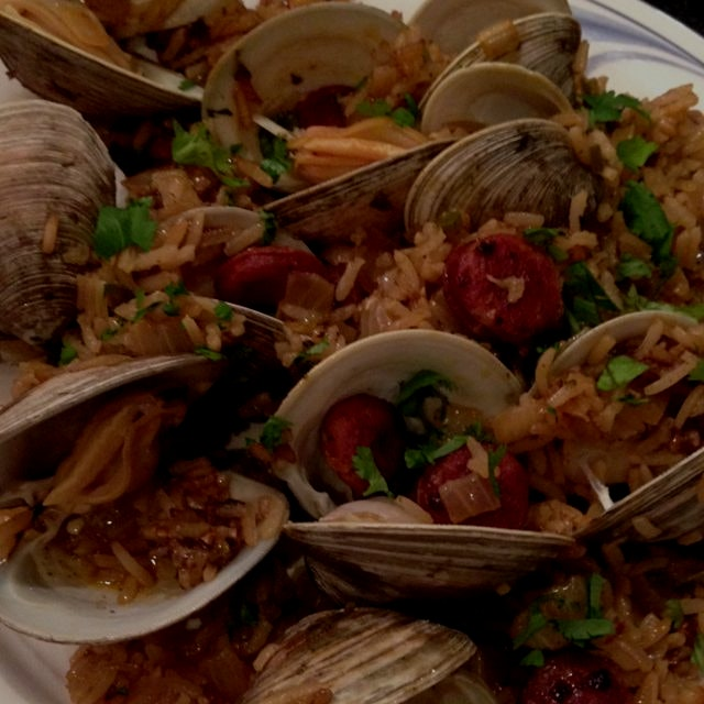 A simple version of paella with delicious fresh clams from Blue Island