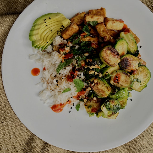Here with brussels, tofu, avocado, a soy/sesame/ginger/garlic sauce. The coconut milk makes the r...