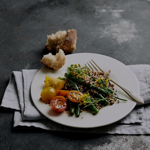 Lemony green beans and mustardy brassica flowers with quinoa.  Brassica from  the greenmarket #wi...