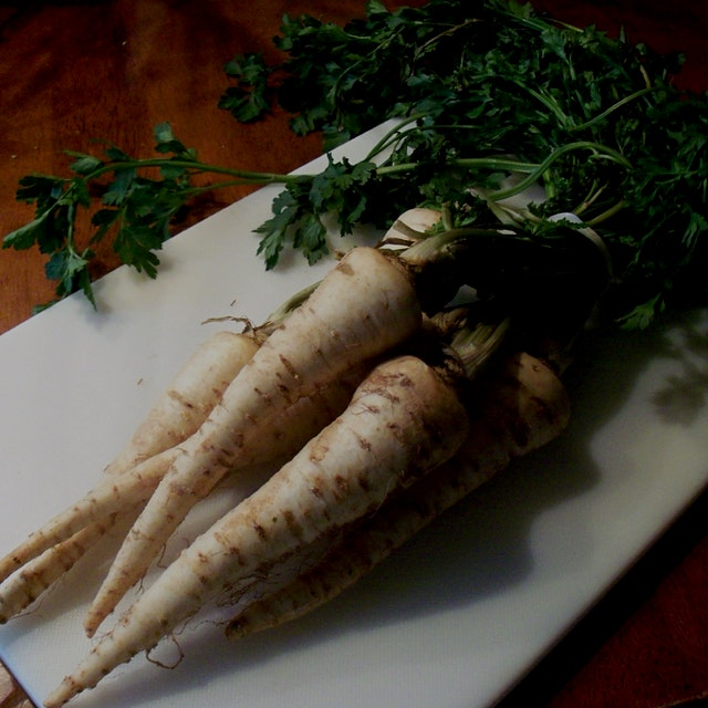 We often just use the parsley tops, but you can harvest the parsley root and roast them as fries ...