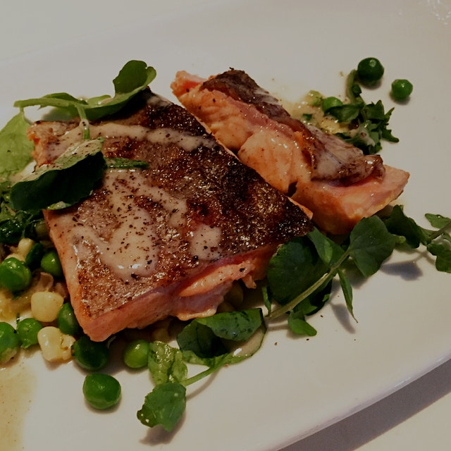 Grilled trout with mushrooms, peas, corn, leeks and watercress. #restauranttip
