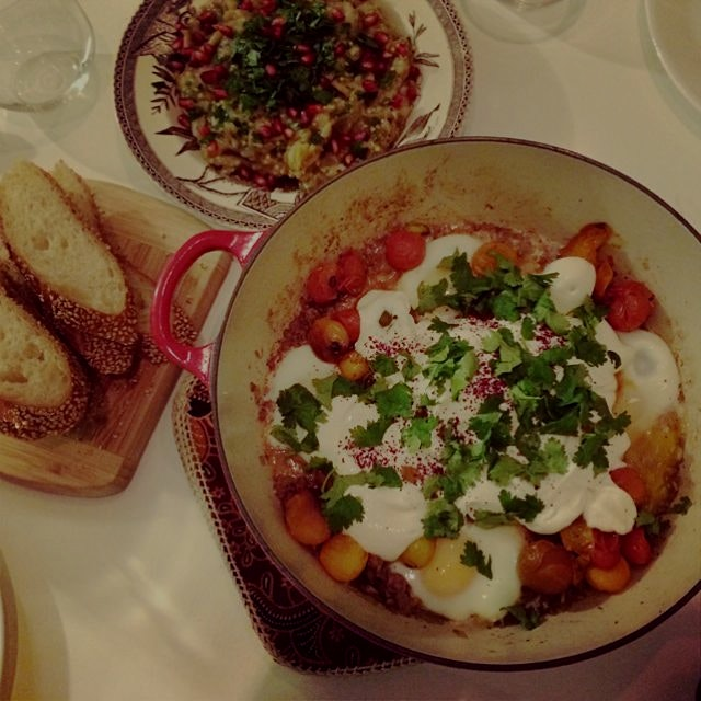 a Jerusalem feast of smoky baba ganoush and braised eggs with lamb, tahini, & sumac #cookedthebook