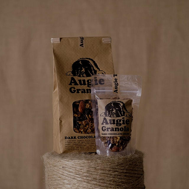 Augie Granola 3oz snack bags available now! Three delicious flavors just the right size for a poc...