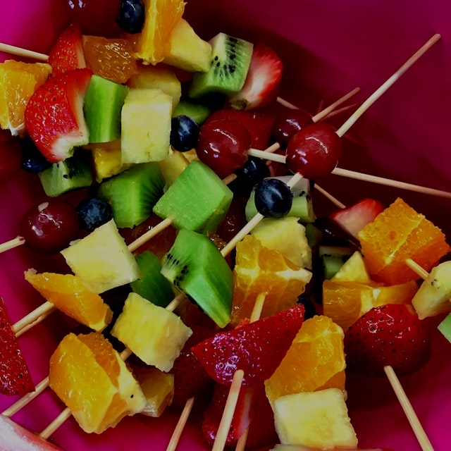 Fruit kabobs for all Wellness students today!