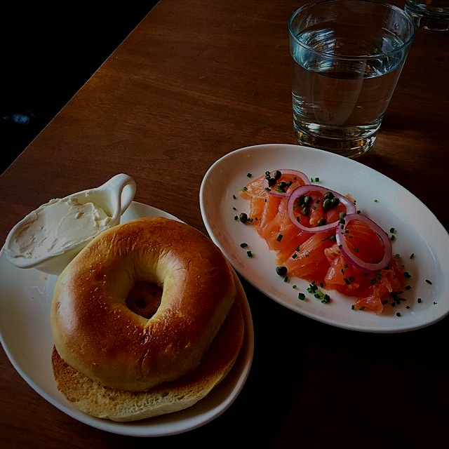 The best breakfast! Bagels, cream cheese, and lox!
