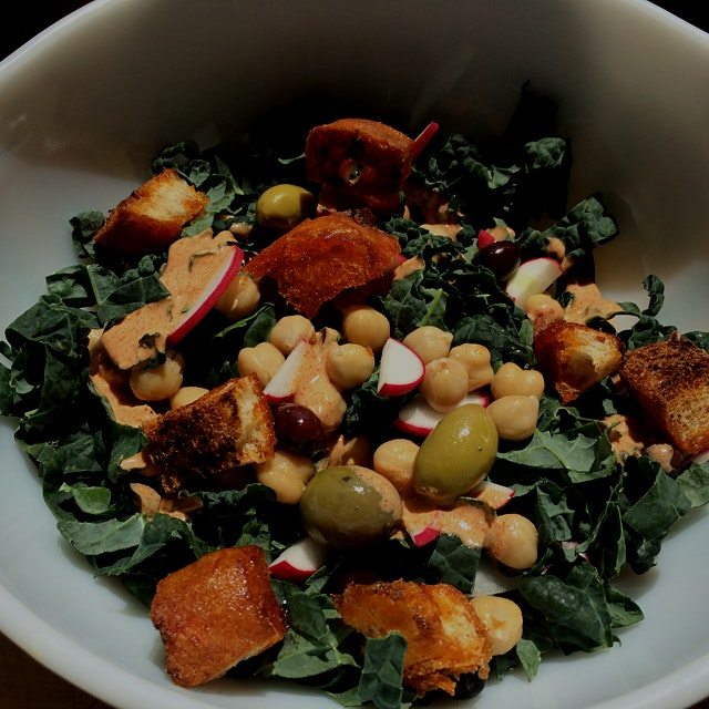 Stale bread is resurrected for croutons in this smoky kale salad.  #nofoodwaste