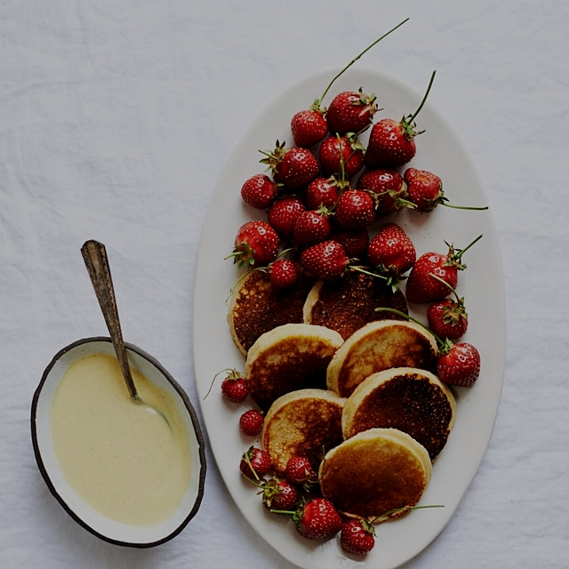 Strawberries are sure having their moment...with pancakes and creme anglaise #inseasonnow #Flavor...