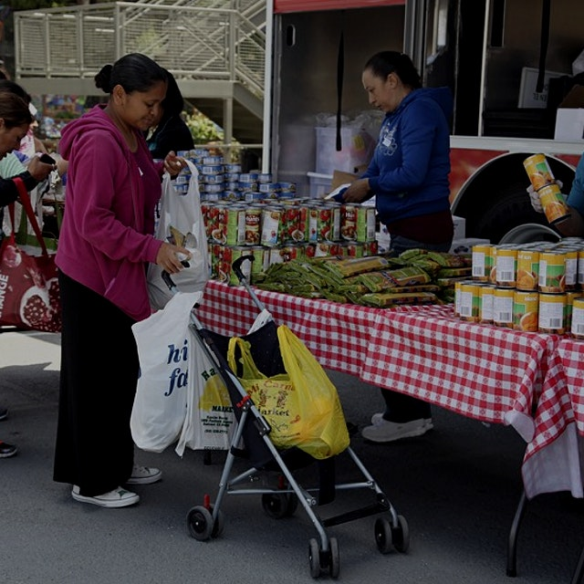 """As food insecurity spikes, food banks are using refrigerated trucks to bring fresh food directly..."