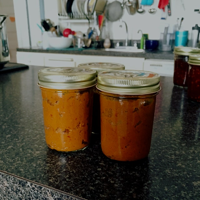Three jars of laksa paste going into my fridge. Maybe this should be AMK's next product? Nah, I d...