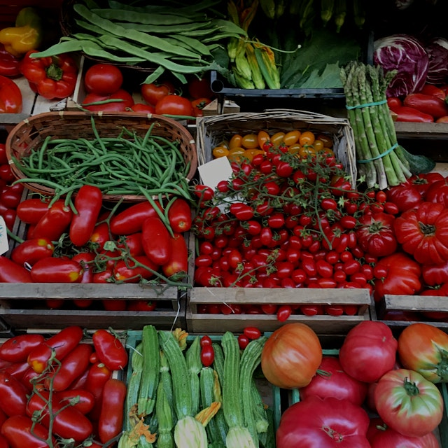 The most GORGEOUS tomatoes at the market in Florence. I might turn into a tomato with how many I'...