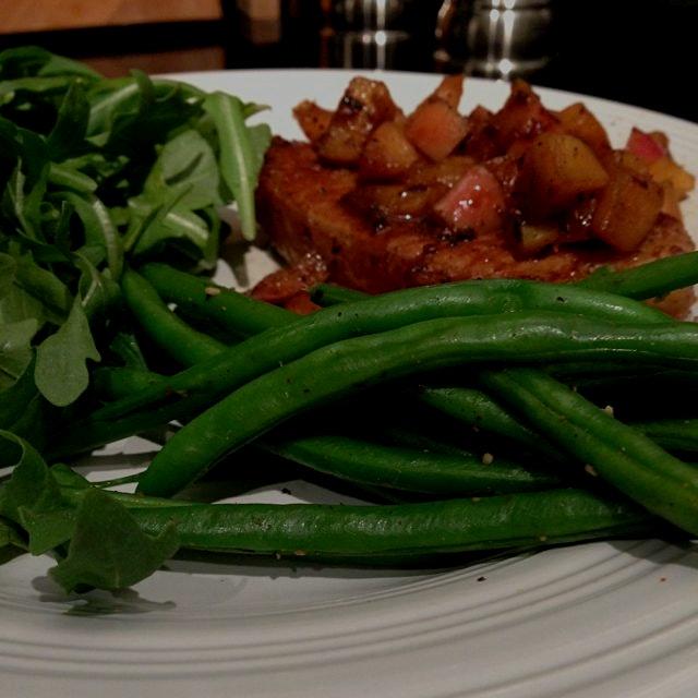 Dinner with fresh greens and apple sautéed pork chops! #yum