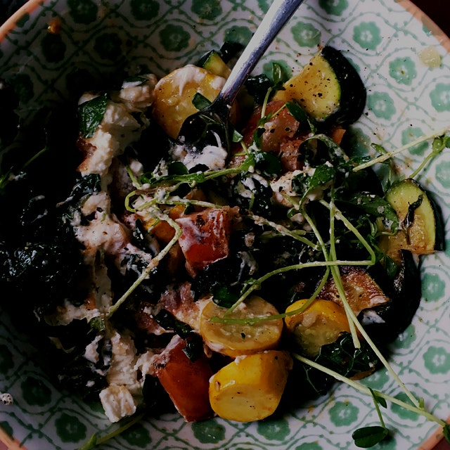 sauté squash with tomato , a bit of kale garlic and oil. take off heat and add pea shoots , ricot...
