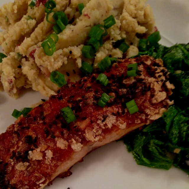 Rice flake-crusted salmon with miso smashed Japanese sweet potatoes & mustard greens. Recipe and ...