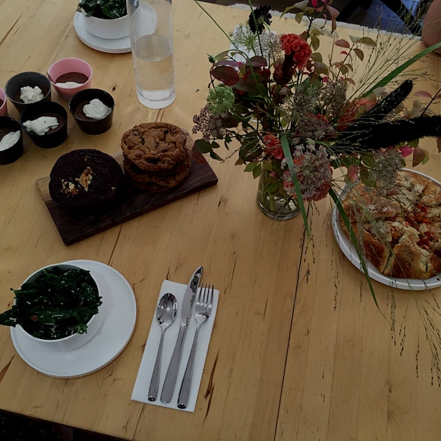 Kale salad wth lemon juice, Parmesan, and sliced almonds Tomato galette Chocolate pudding with wh...