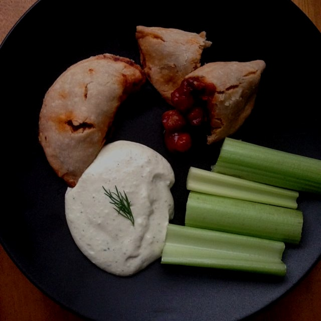 Vegan Buffalo Chickpea Empanadas with Ranch Dipping Sauce - recipe up soon on Meettheshannons.com