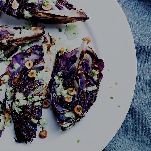 Easy and delicious veggie recipe! Roasted cabbage with vegan green goddess dressing.