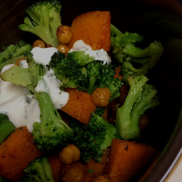 Curry-Roasted Butternut Squash, Chickpeas, and Broccoli