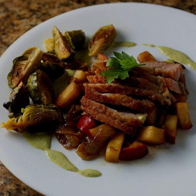 A rite of autumn: pork chop with freshly picked apples