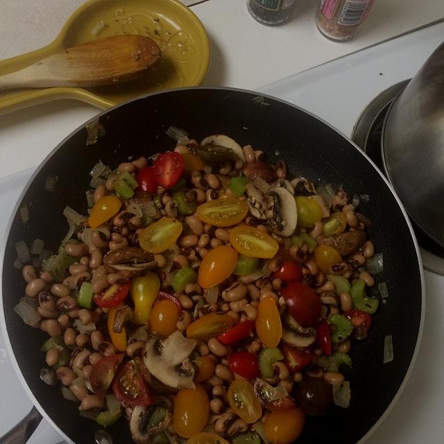 Sautéed onion, celery, mushroom, and mini heirloom tomatoes with garlic, thyme, rosemary, and lemon