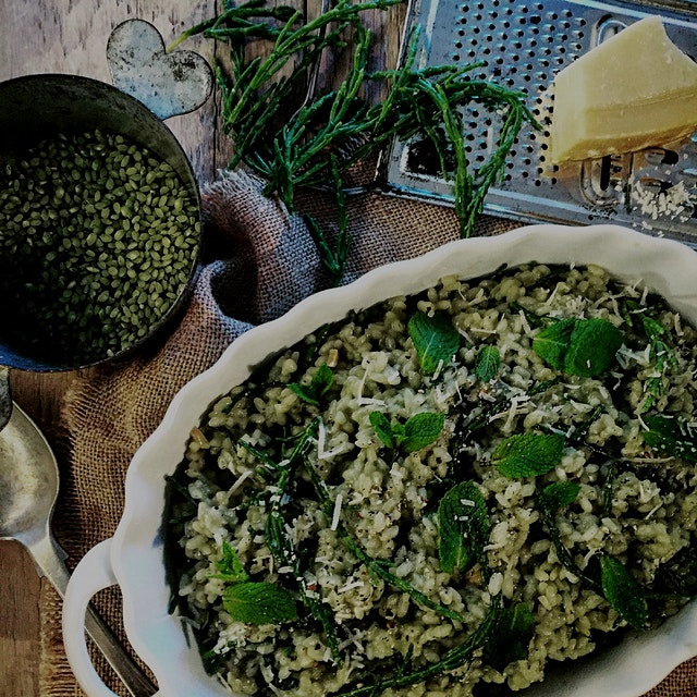 """""""There is something so relaxing and in-the-moment about making risotto. I've probably waxed poet..."""