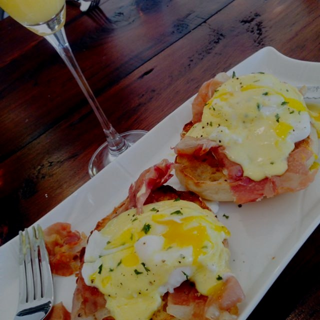 My favorite breakfast made by my favorite man.  Thanks, Daan, for my Prosciutto Eggs Benedict!  H...