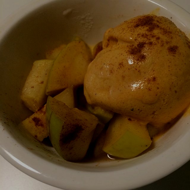 Made a quick and simple apple compote paired with Trader Joe's pumpkin ice cream! Warm apples.......
