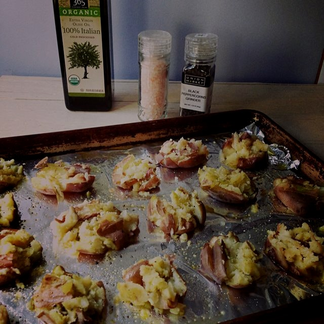 Vegan Ranch Smashed Potatoes - in progress - recipe soon on MeetTheShannons.com