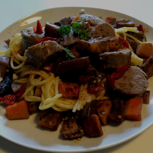 Lamb sausage over corn pasta and lots of veggies. Yum:) #lunch #homecookingiswheretheheartis