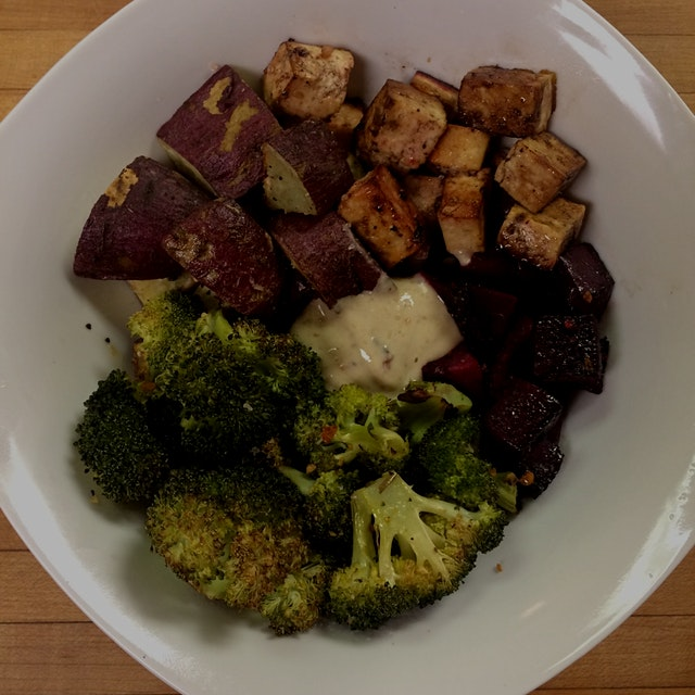 Purple sweet potato, beet, broccoli, & balsamic tofu with hummus