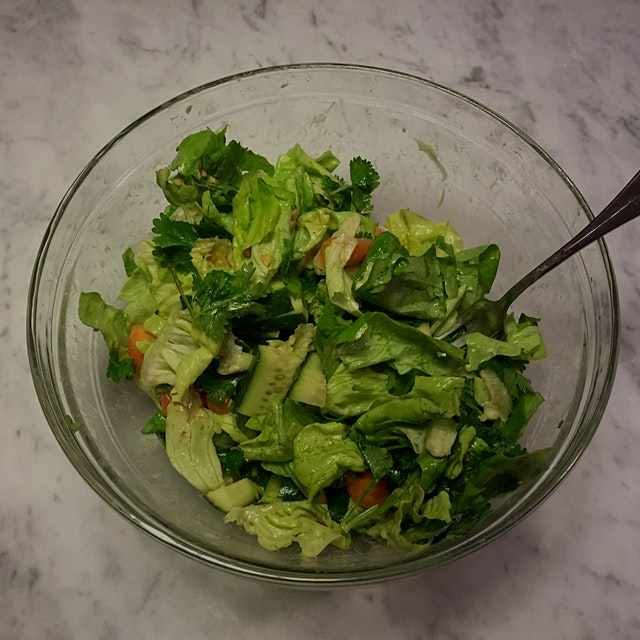 Day 12/14: Avoid Added Sugar Level IV - I had lettuce, a carrot, cucumber and leftover cilantro a...