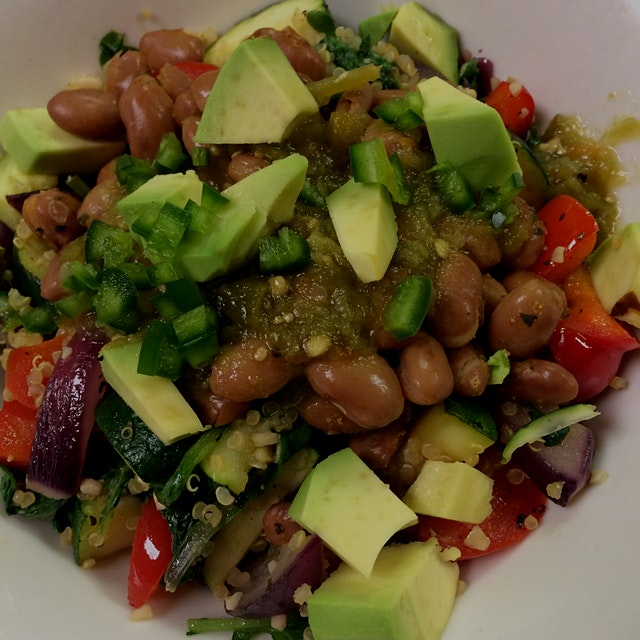 Zucchini, red pepper, red onion, garlic, pinto beans, quinoa, avocado, jalapeño, & green salsa