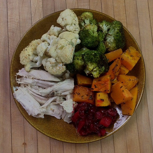 Turkey [free range organic] and roasted butternut squash, broccoli, and cauliflower with ginger-l...