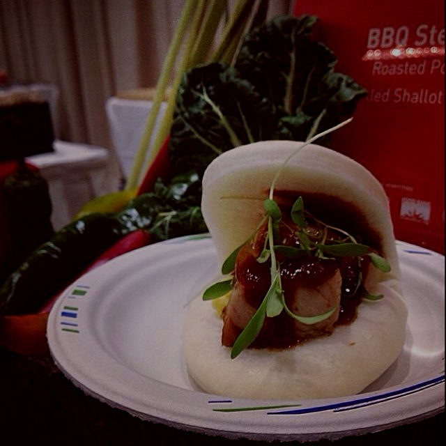 Rosted Pork Belly Bao : Chinese 5 spice BBQ, steamed egg, micro cilantro