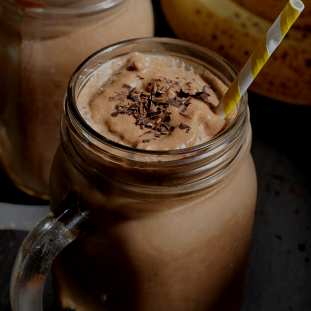 "Sweetened only with banana, this ""milk shake"" is the perfect chocolatey treat to satisfy dessert ..."