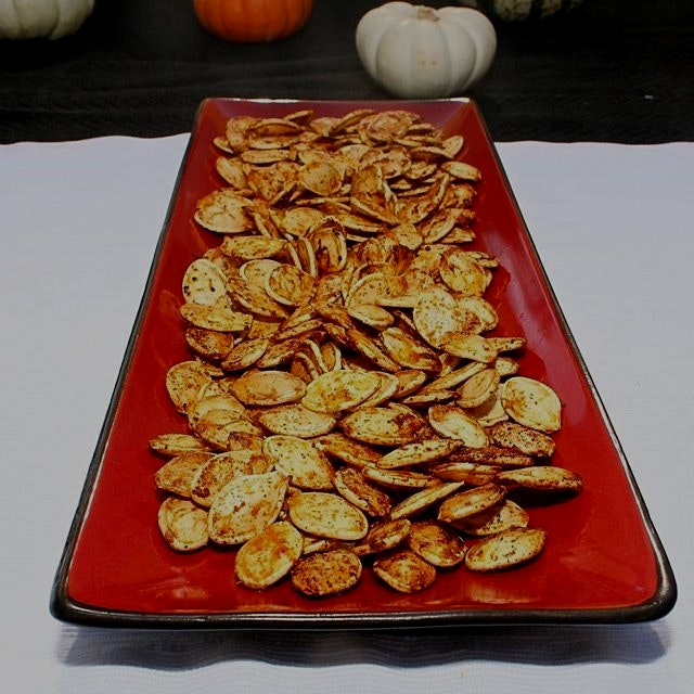 Roasted Pumpkin seeds are a healthy snack to fill up on before you eat candy! 🎃❤️🍁 Search for the...