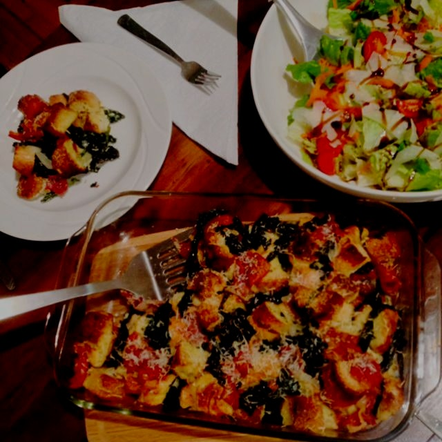 Prosciutto, Parmigiano, and Kale Stratta with a side salad tonight for dinner