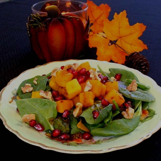 Harvest Salad with Pomegranate Vinaigrette. Search for it at the link in my bio. Serve it for lun...