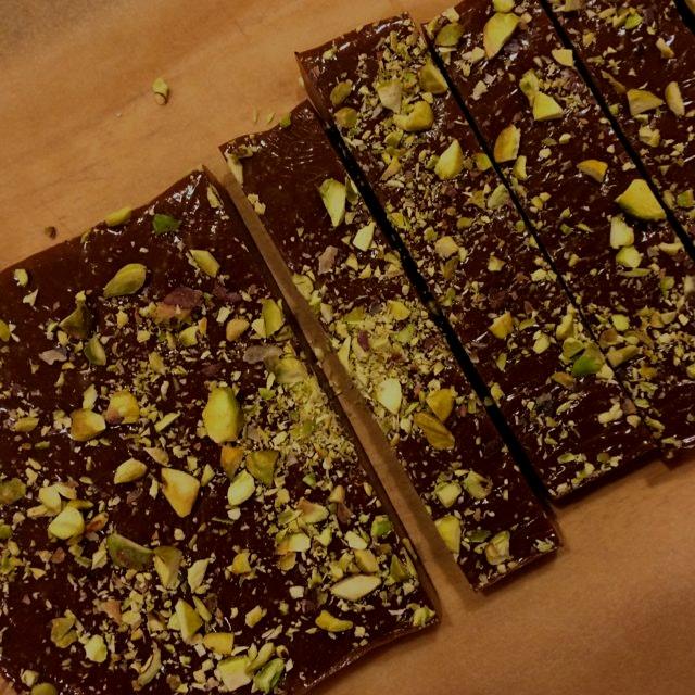 Homemade pistachio caramels
