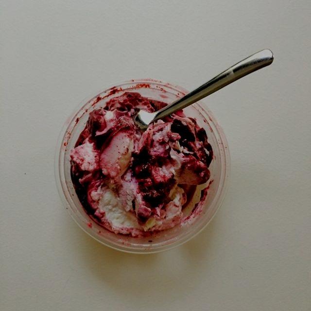 Take a back seat Chobani. Central Valley farm Greek yogurt with blueberries is sooo winning.