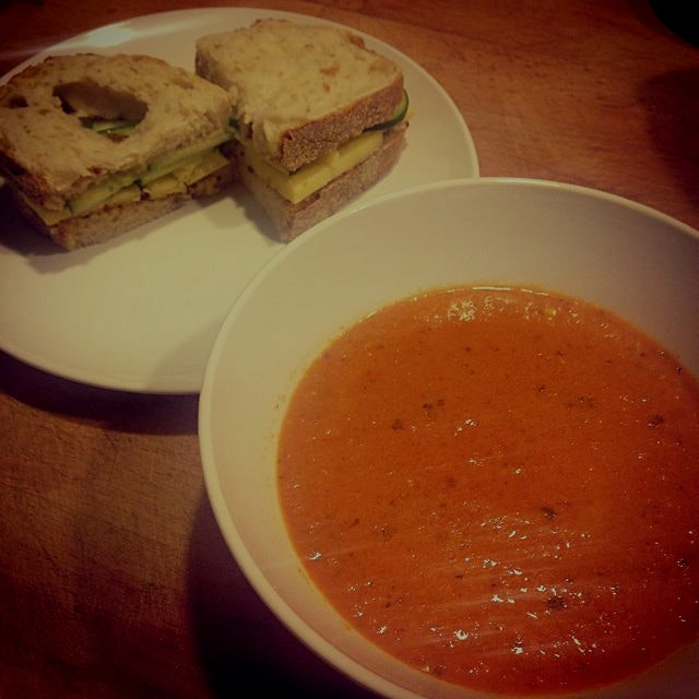 Roasted red pepper soup with cheddar, cucumber and honey mustard sandwiches.