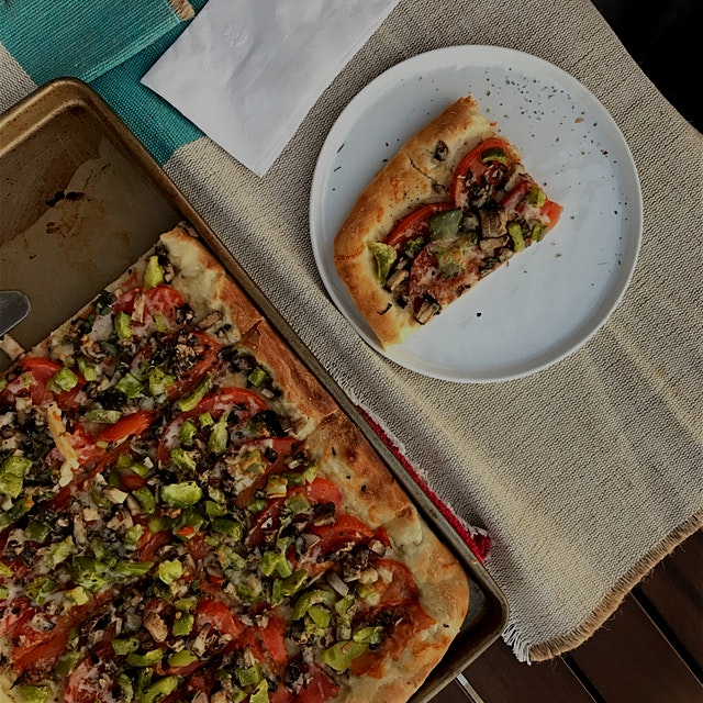 Day 25/30: Fill 50% of your plate with Fruits and Veggies Level V  I topped the rolled out pizza ...