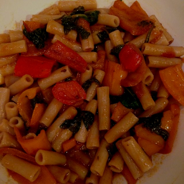 Gf pasta + sauce made of red wine, mini bell peppers, tomato, spinach, olive oil and garlic and o...