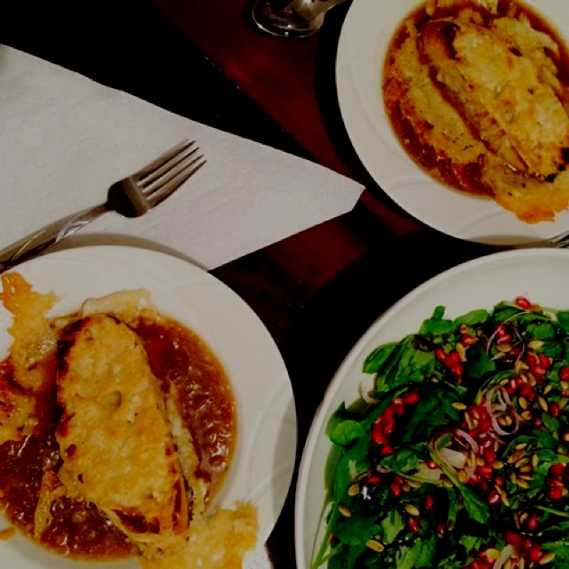 French Onion Soup and Spinach Salad with Pomegranates and Pepitas