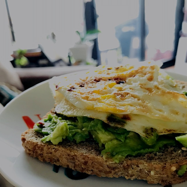 Sprouted grain bread, avocado, scrambled egg  Day 1/14: Avoid Sugar at Breakfast Level III