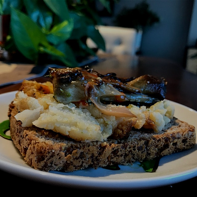 Day 3/30: Avoid Sugar at Breakfast Level IV  Mashed up leftover cauliflower and mushrooms from di...
