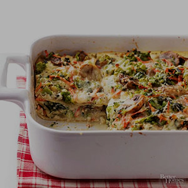 I love making veggie lasagna!  Although I normally use ground turkey instead of the mushrooms and...
