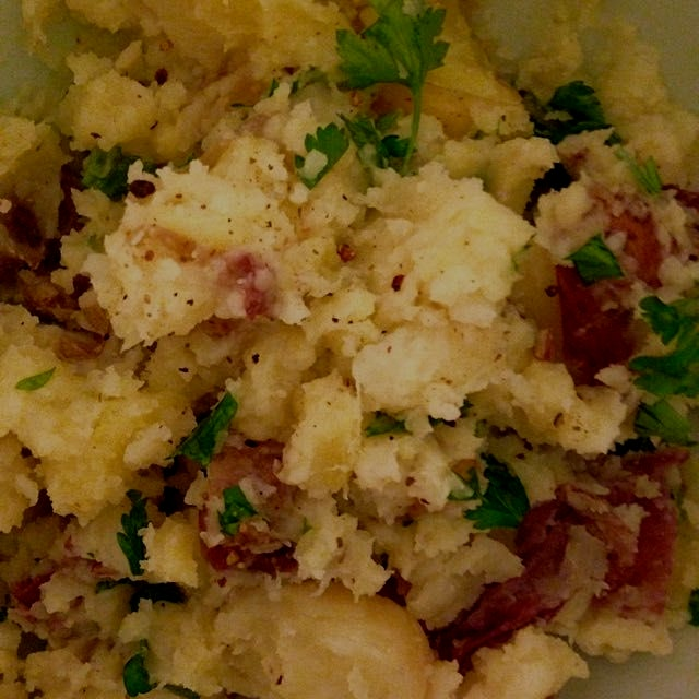 Creamy potato salad with evoo -- thanks, Jocelyn, for sharing your CSA with us :)