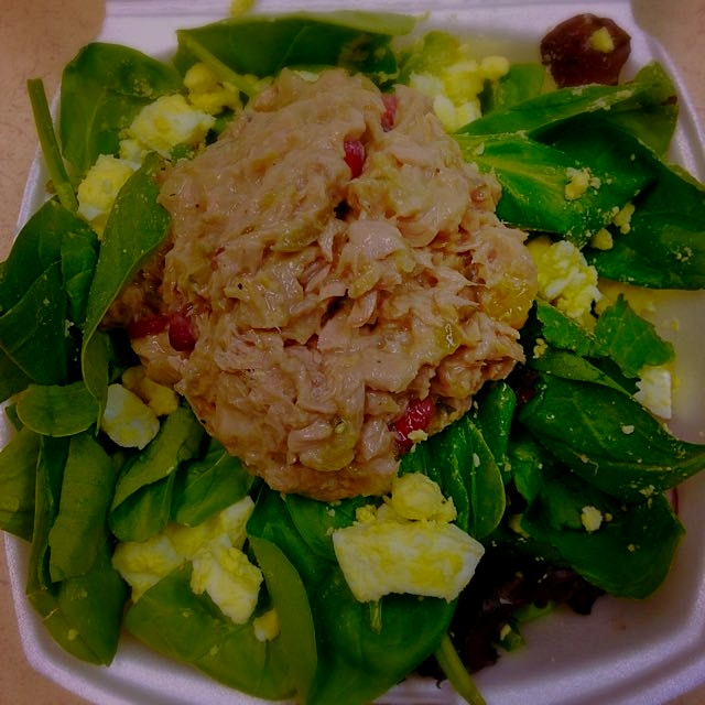 Easy clean tuna salad for lunch with hard boiled egg for a bit more calcium